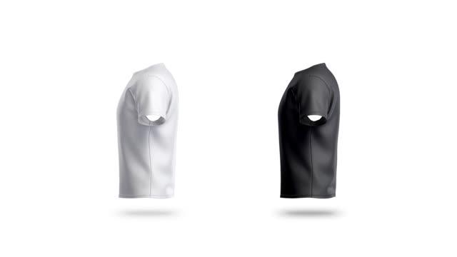 vídeos de stock e filmes b-roll de blank black and white clean t-shirt mockup, isolated, looped rotation - teeshirt template