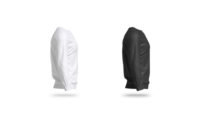 Blank black and white sweatshirt mock up set, looped rotation