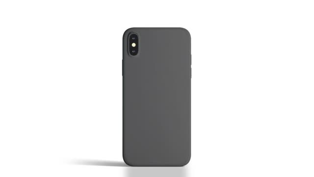Blank black phone with matte case rotation, isolated
