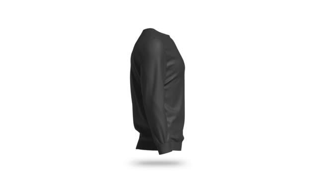 blank black sweatshirt mockup, looped rotation - top nero video stock e b–roll