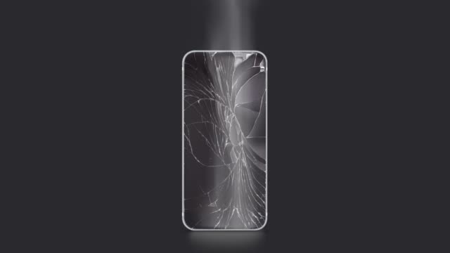 Blank broken phone mockup with cracked screen and fume front view