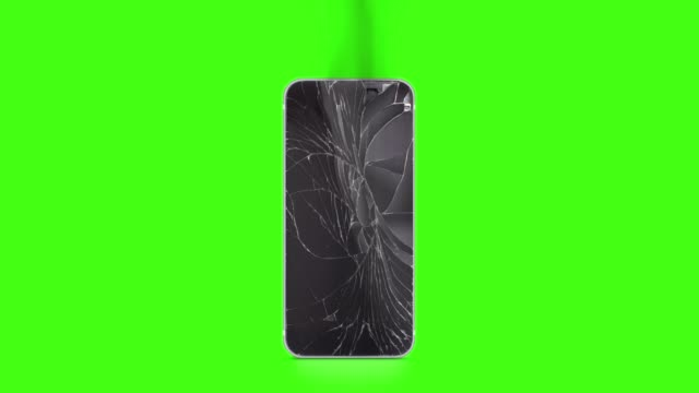 Blank broken phone mockup with cracked screen and fume on chroma key video