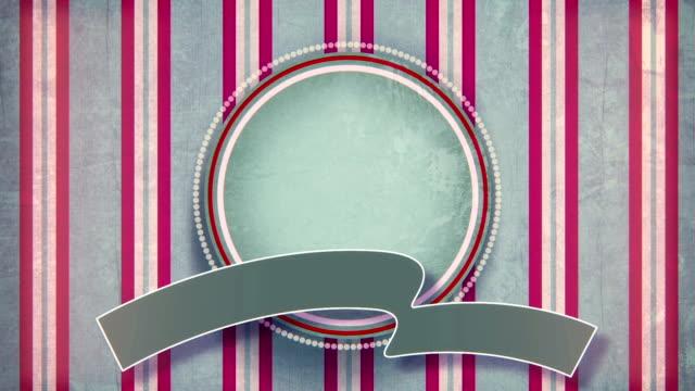 vídeos de stock e filmes b-roll de círculo rótulo em branco com fita vintage plana animação - badge