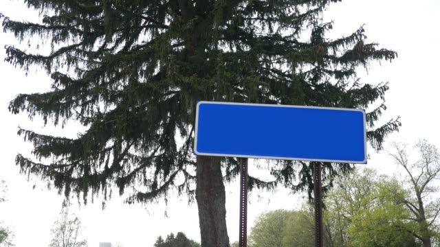 A Blank generic blue highway sign for diner or restaurant video