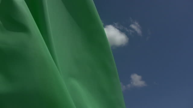 HD 720 Blank Green Flag with blue sky background video