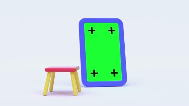 blank green screen board blue frame 3d rendering white scene