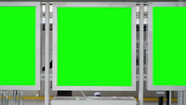 Blank Green Screen Public Transport Advertisement Empty Board Panels Blank Green Screen Public Transport Advertisement Empty Board Panels underground stock videos & royalty-free footage