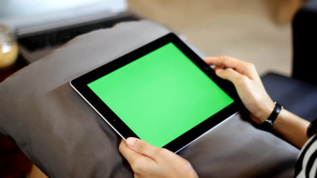 blank green screen tablet one click close up with hand video