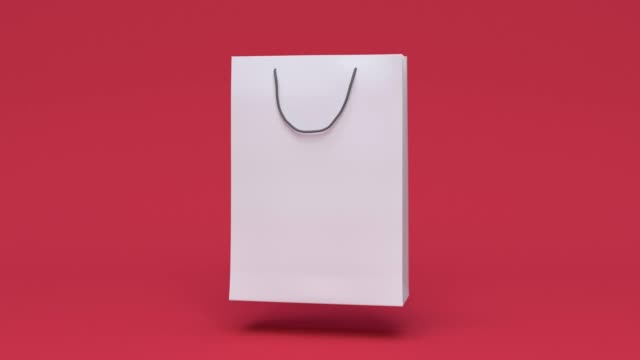 blank paper bag shopping mall business packaging environment concept minimal motion 3d rendering - borsa della spesa video stock e b–roll