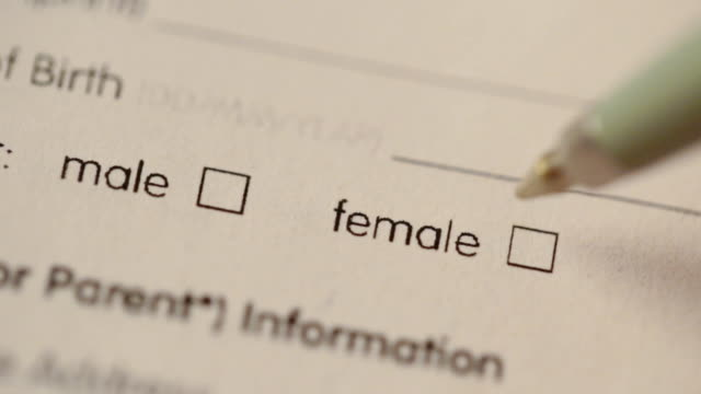 blank questionnaire with gender choice check boxes