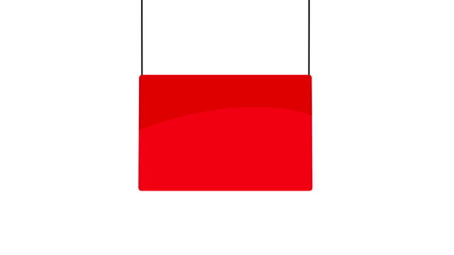 Blank red hanging sign sign Red sign drops into the frame from above and swings gently. The sign is on a plain white background hanging stock videos & royalty-free footage