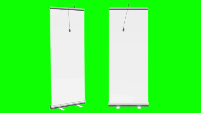Blank Roll Up Banner Stand. Trade show booth white and blank. 3d motion graphic on green screen chroma key background.