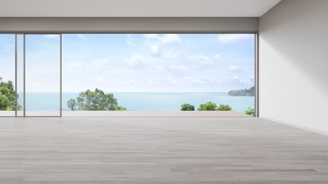 parete vuota sul pavimento in legno vuoto di grande soggiorno in casa moderna o villa di lusso. - terrazza video stock e b–roll