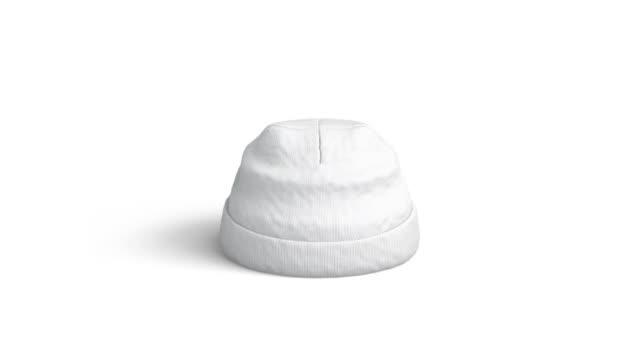 Blank white beanie mockup, isolated, looped rotation