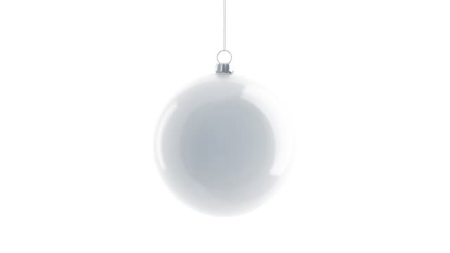 Blank white christmas tree ball mockup, looped rotation Blank white christmas tree ball mockup, looped rotation, 3d rendering. Empty decoration bauble mock up, isolated. New year rotate toy for traditional tre template. christmas ornament stock videos & royalty-free footage