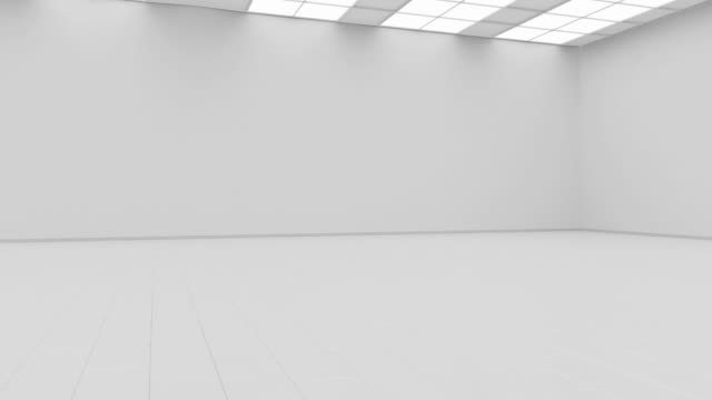 vídeos de stock e filmes b-roll de blank white gallery background mock up isolated, constant camera rotation - sala