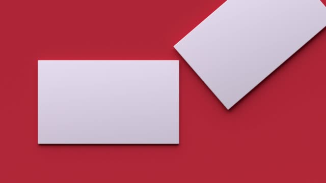 blank white paper business card slid red floor flat lay scene 3d rendering motion mock up - business card stock videos & royalty-free footage