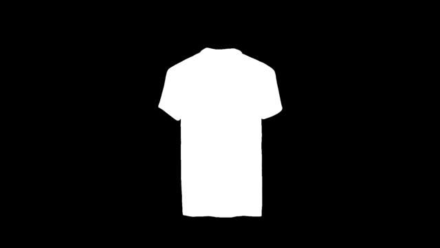 vídeos de stock e filmes b-roll de blank white polo shirt constant rotation mock up, clipping mask - teeshirt template
