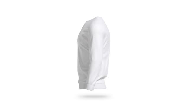 Blank white sweatshirt mock up, looped rotation Blank white sweatshirt mock up, looped rotation, 3d rendering. Empty cotton sweat shirt with long sleeve mockup, cycled rotating, isolated. Clear daily unisex sweater or blazer mokcup template. sweatshirt stock videos & royalty-free footage