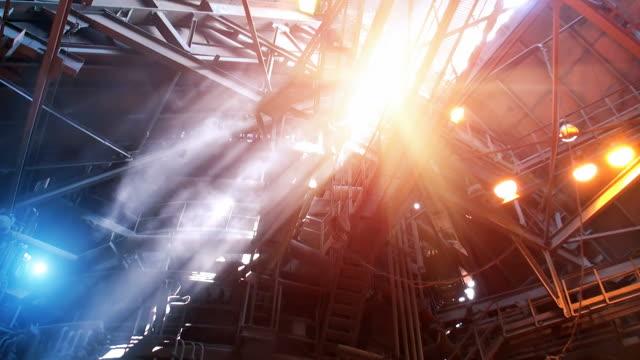 Blast furnace workshop Smoke and sun light rays in blast furnace workshop of metallurgical plant foundry stock videos & royalty-free footage