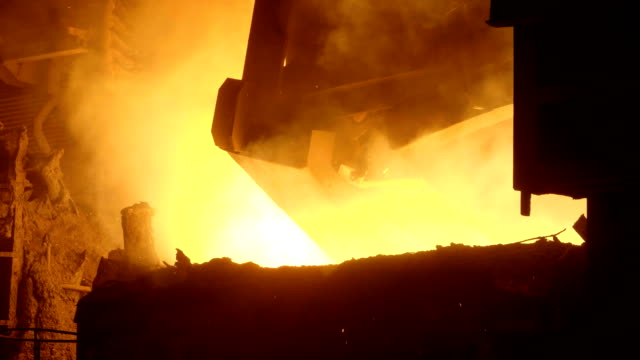 Blast furnance at a metallurgical plant Working blast furnance at a metallurgical plant steel mill stock videos & royalty-free footage