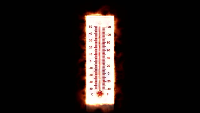 stockvideo's en b-roll-footage met brandend vuur op een thermometer. - thermometer