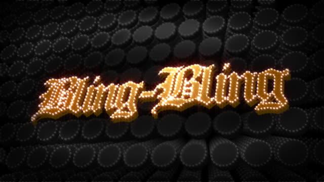 bling-bling glitz sparkle text - bling bling stok videoları ve detay görüntü çekimi