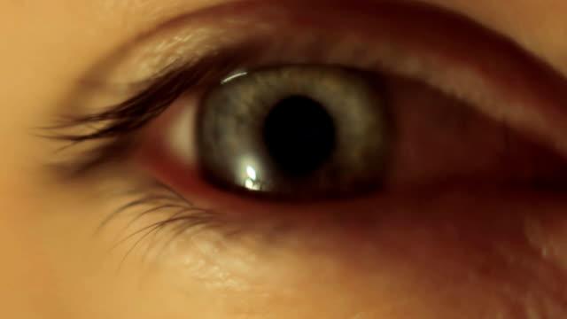 A blinking green eye video