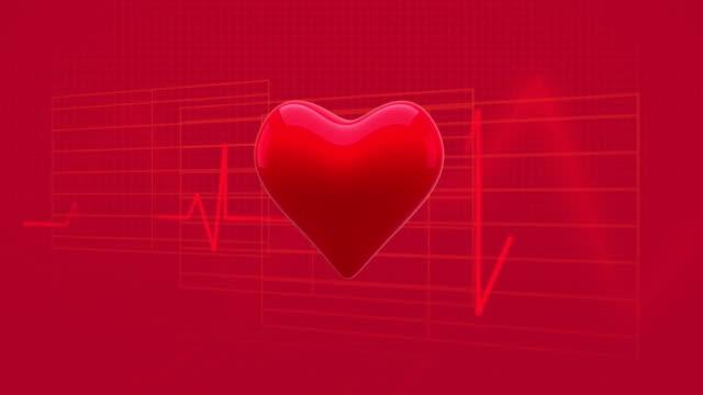 vídeos de stock e filmes b-roll de blinking heart against soundwaves on red background - coração fraco