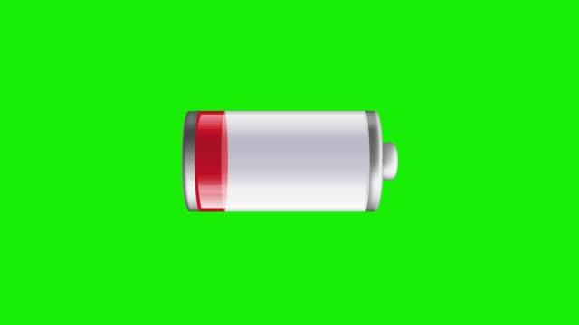 blinkende batteriesymbol auf green-screen - einzelner gegenstand stock-videos und b-roll-filmmaterial