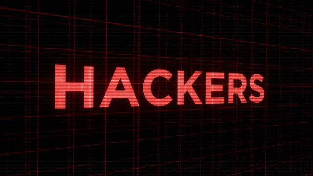 Blinking ominous futuristic glowing  typography - Hackers Blinking ominous futuristic glowing  typography - Hackers identity theft stock videos & royalty-free footage