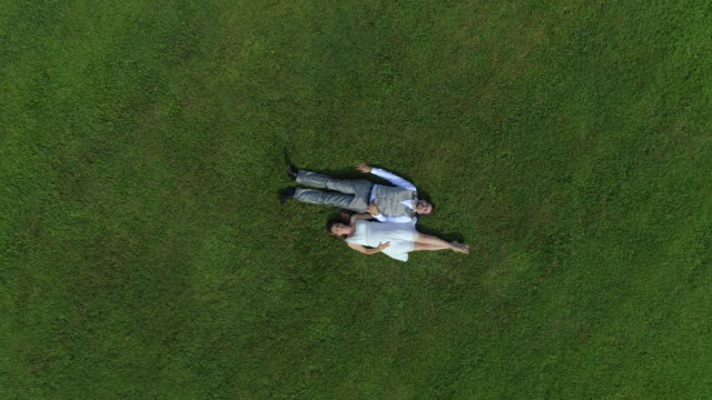 AERIAL TOP DOWN: Blissful pregnant couple in love laying in meadow holding hands video