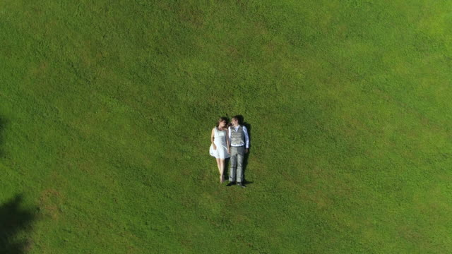 AERIAL TOP DOWN: Blissful pregnant couple in love lying in grass side by side video