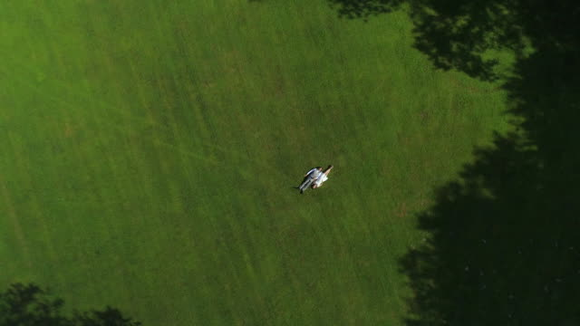 AERIAL TOP DOWN: Blissful pregnant couple in love lying on grass holding hands video