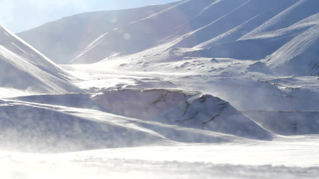 Blizzard and blowing snow in strong winds in the mountains. The surroundings of Longyearbyen, Svalbard. video