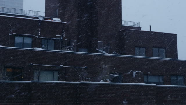 Blizzard in a Urban City. Snow-Cowered Buildings, Roof and Streets. video