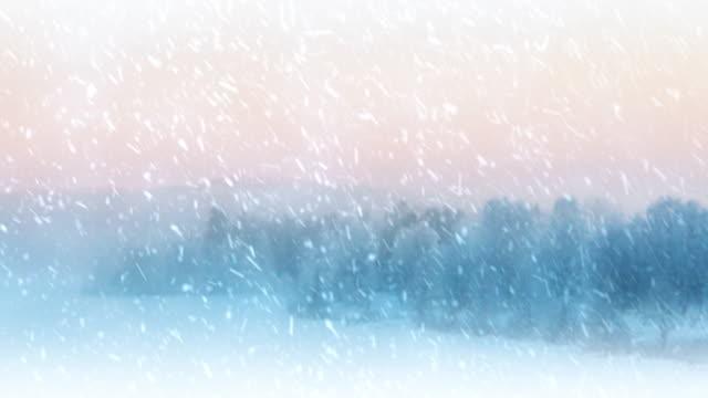 blizzard, snow flurries blowing across an beautiful scandinavian winter scene. video