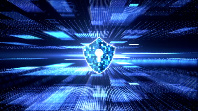 Block chain security concept. Cyber security concept. Shield with keyhole icon on abstract block chain big data digital center, server  and transfer of data communication background. Blue abstract hi speed internet technology. antivirus software stock videos & royalty-free footage