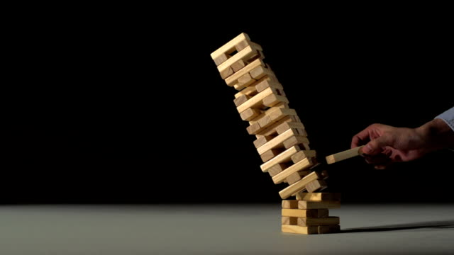 Block tower collapsing, Slow Motion video