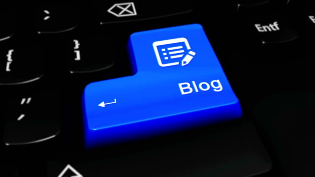 Blog Round Motion On Computer Keyboard Button. Blog Round Motion On Blue Enter Button On Modern Computer Keyboard with Text and icon Labeled. Selected Focus Key is Pressing Animation. homepage stock videos & royalty-free footage