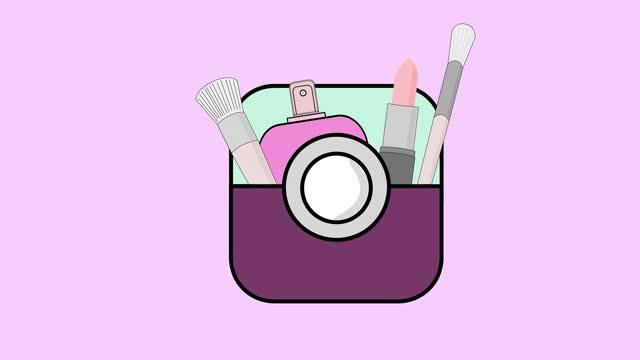 vidéos et rushes de outils de blogueur. sac à main pour femmes avec cosmétiques. illustration colorée de vecteur dans le modèle de croquis. pour la mode, la beauté et les applications mobiles. illustration vidéo. - fard à paupières