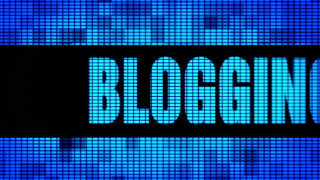 Blogging Front Text Scrolling LED Wall Pannel Display Sign Board Blogging Front Text Scrolling on Light Blue Digital LED Display Board Pixel Light Screen Looped Animation 4K Background. Sign Board , Blinking Light, Pixel Monitor . LED Wall Pannel homepage stock videos & royalty-free footage