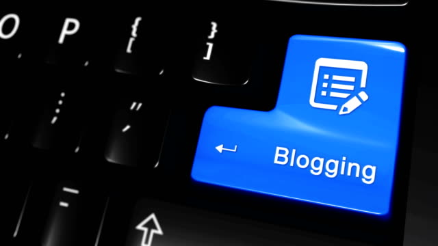 Blogging Moving Motion On Computer Keyboard Button. Blogging Moving Motion On Blue Enter Button On Modern Computer Keyboard with Text and icon Labeled. Selected Focus Key is Pressing Animation. Delivery Services Concept homepage stock videos & royalty-free footage