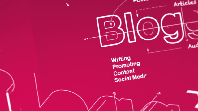 """Blogging Concept animation showing a wireframe 3D model of the word """"Blogging"""" being built. Related terms and phrases are written around it as the camera smoothly pans and zooms out. homepage stock videos & royalty-free footage"""