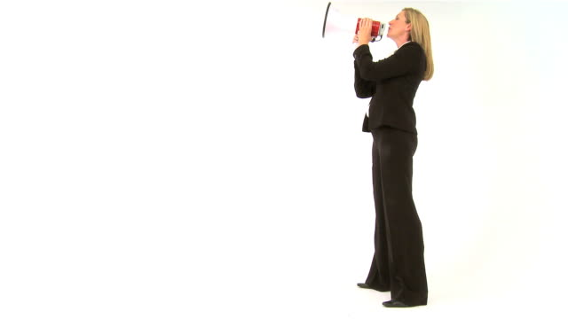 Blonde businesswoman making a protest  announcement message stock videos & royalty-free footage