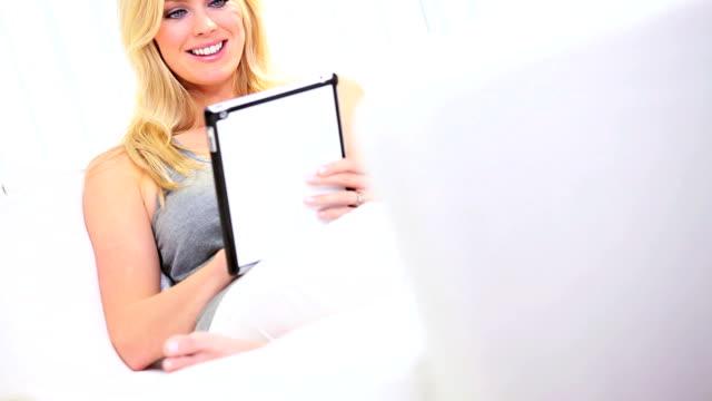 Blonde Girl Home Online Shopping video