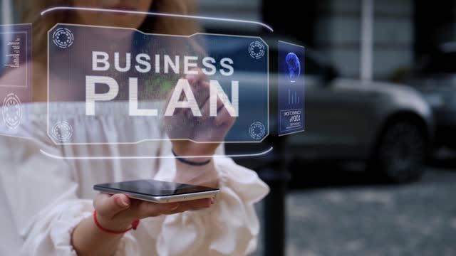 Blonde interacts HUD hologram Business plan