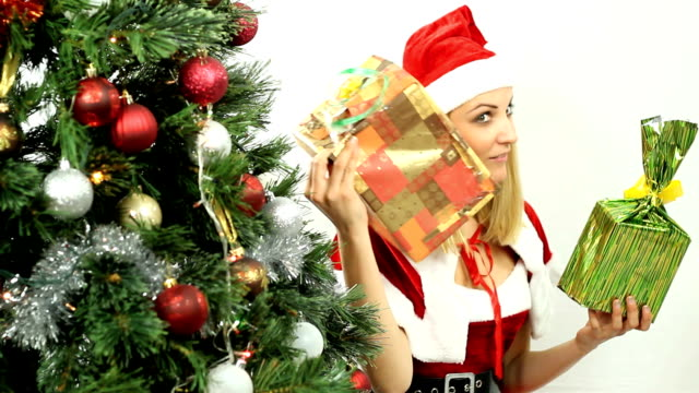 Blonde with Christmas presents video