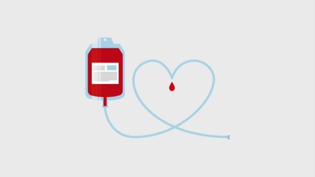 vídeos de stock e filmes b-roll de blood bag heart drops healthcare - blood donation