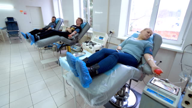 Blood donation and mechanical plasma separation of several patients